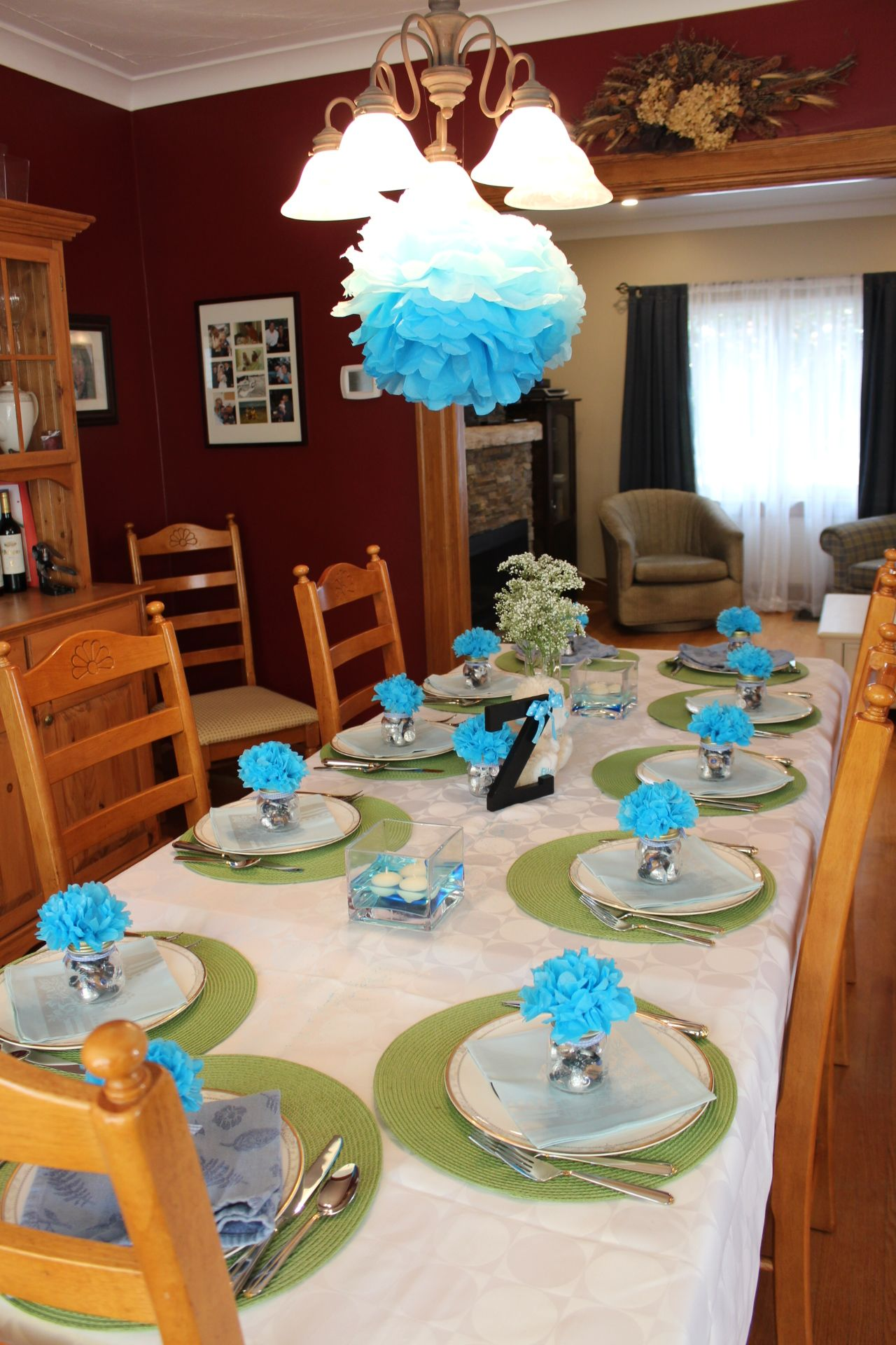 Simple elegant table setting for baby boy\u0027s Christening or birthday dinner party. Tissue paper & Simple elegant table setting for baby boy\u0027s Christening or ...