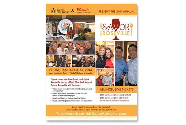 Flyer design for Savor Roseville, a fundraiser supporting Roseville