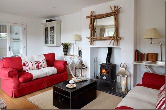 Ideas deco c mo decorar el sal n con un sof rojo - Como decorar mi salon ...