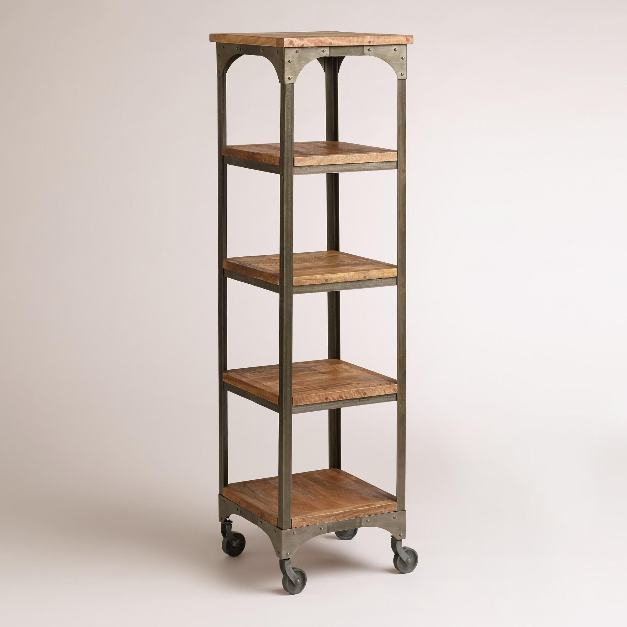 Our four-shelf tower gives your space a rustic, industrial feel with its  mango