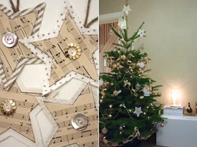 Baumschmuck aus Notenpapierbasteln Sterne Knöpfe Stoff - weihnachtswanddeko basteln