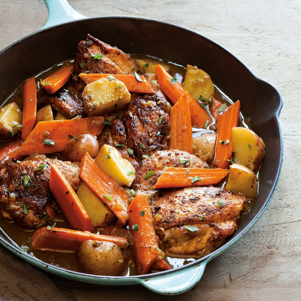 Braised Chicken Thighs With Carrots Potatoes And Thyme