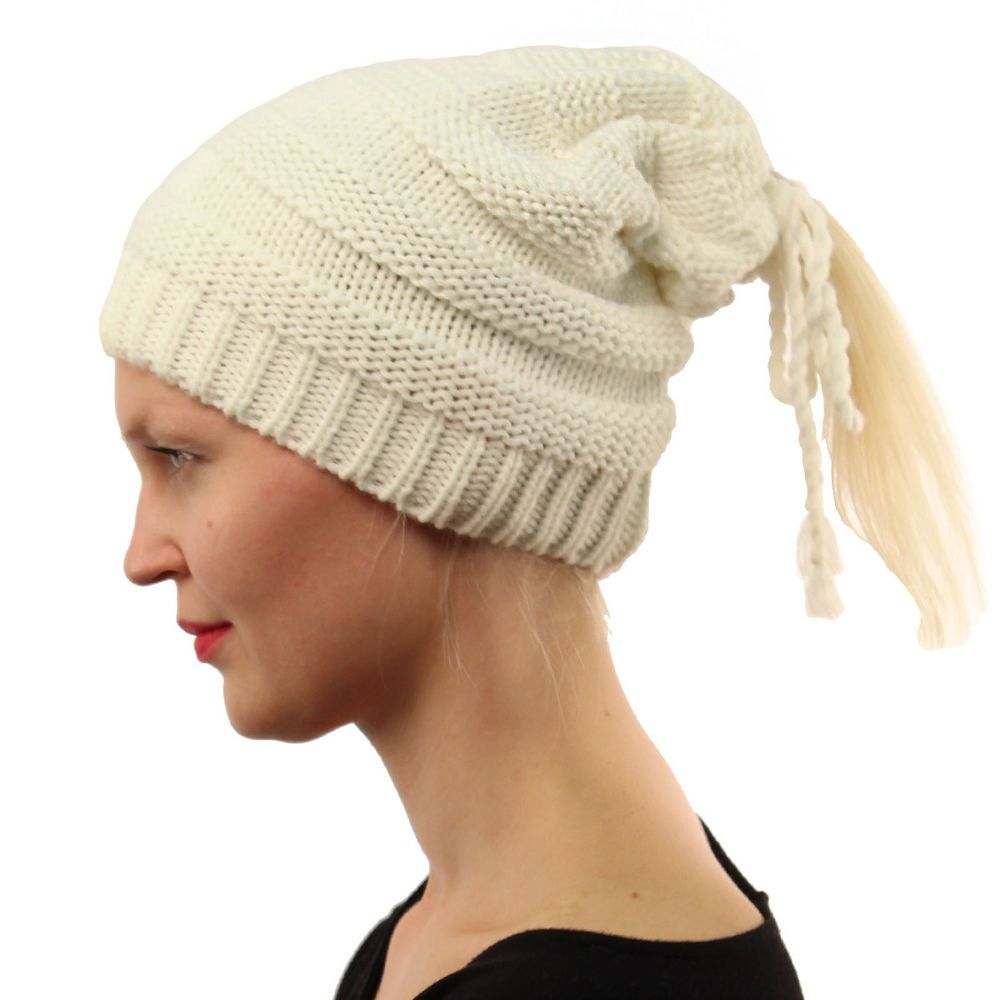 a683e3606930e Everyday 3 in 1 Open Top Messy Bun Ponytail Stretch Knit Beanie Skull Hat  Off Wh  fashion  clothing  shoes  accessories  womensaccessories  hats  (ebay link)