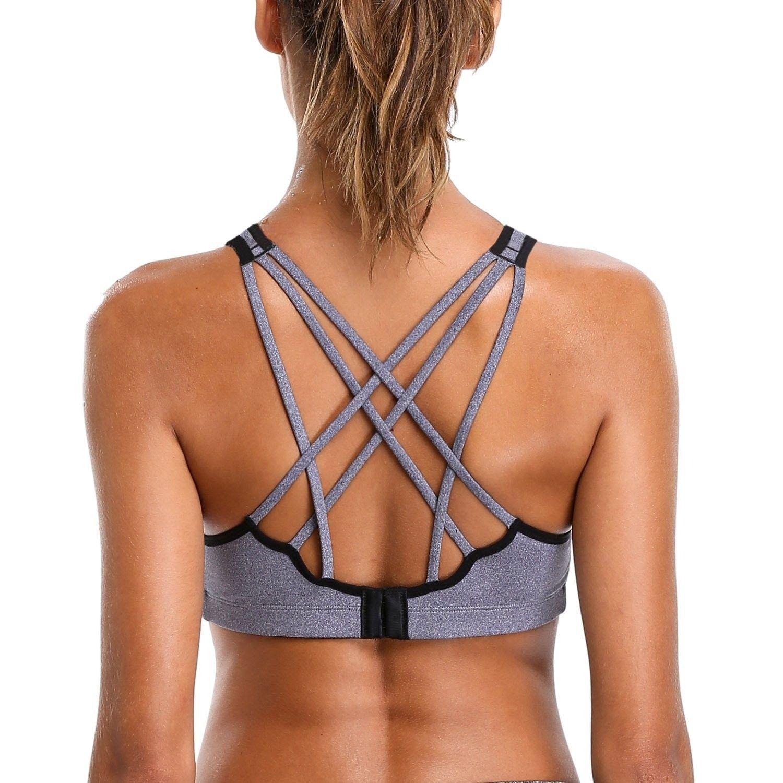 adf8b5322fbc5 Women Strappy Wirefree Yoga Sports Bra Support Workout Padded ...