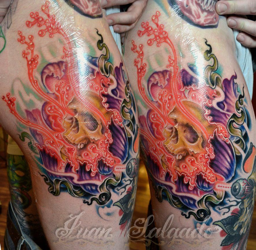 Beautiful piece on Jared Driscoll done by Juan Salgado - covered with Tatu-derm - Jared uses Tatu-derm on all his new tattoos and the color stays just as it was it was applied. Gorgeous!