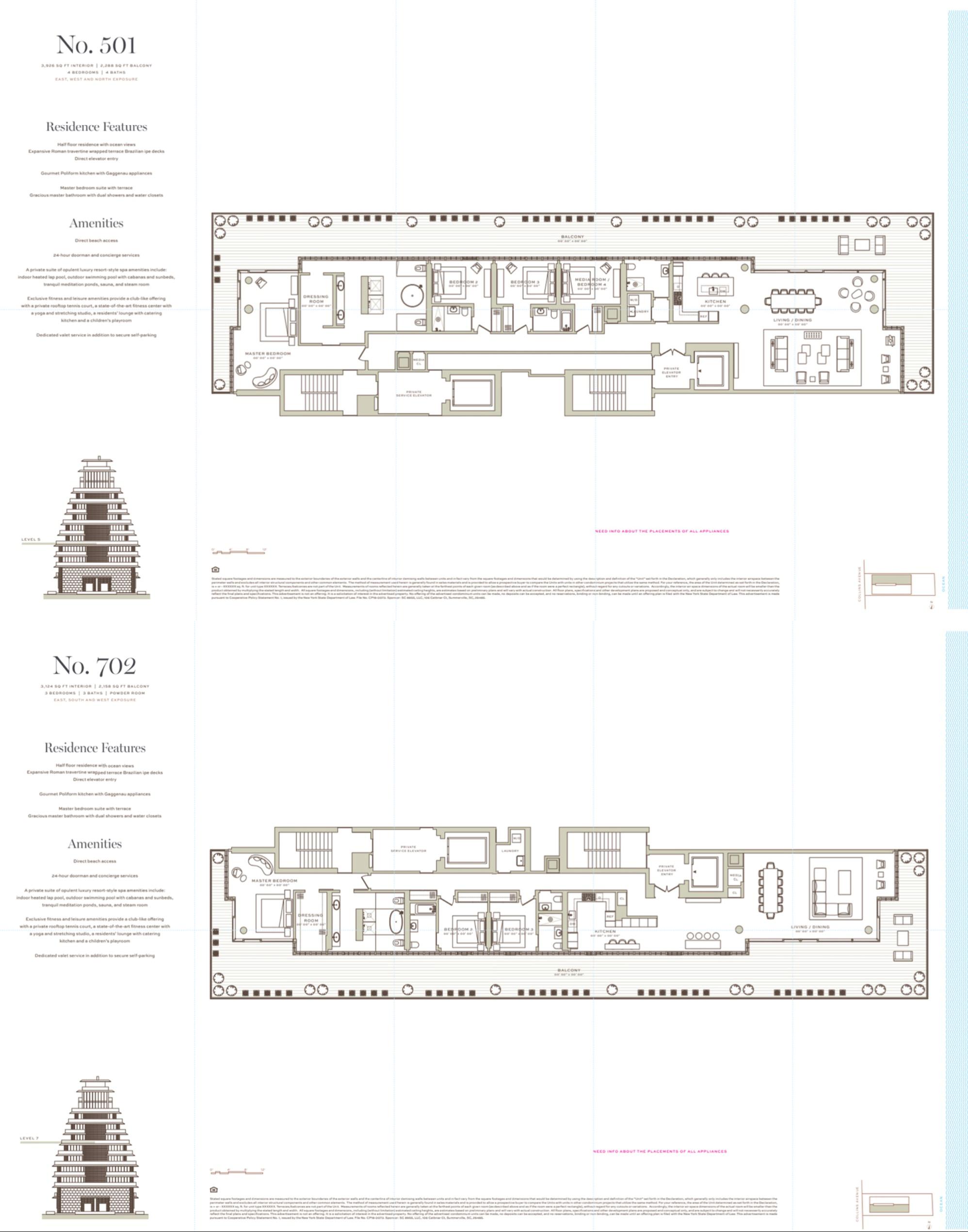 Arte Surfside Fl Plan Design Italian Architecture Floor Plans