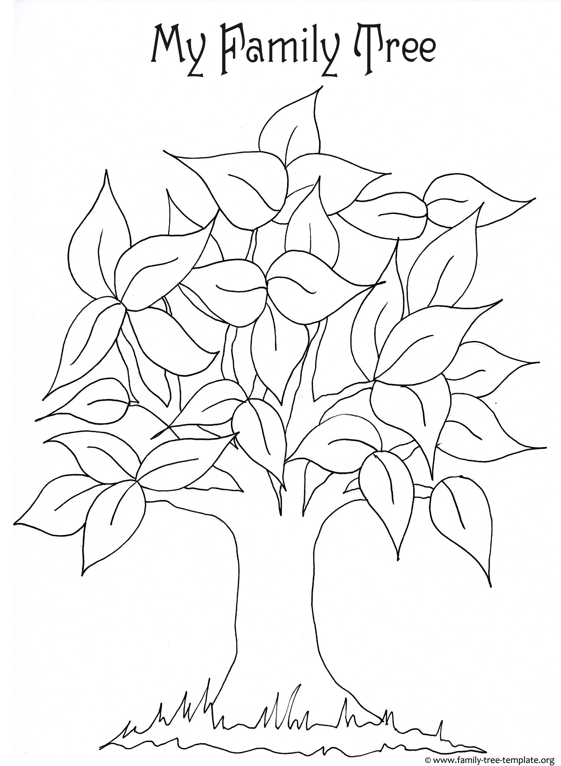 free printable coloring page for kids with leaves and tree trunk to color - Printable Coloring Pages Trees