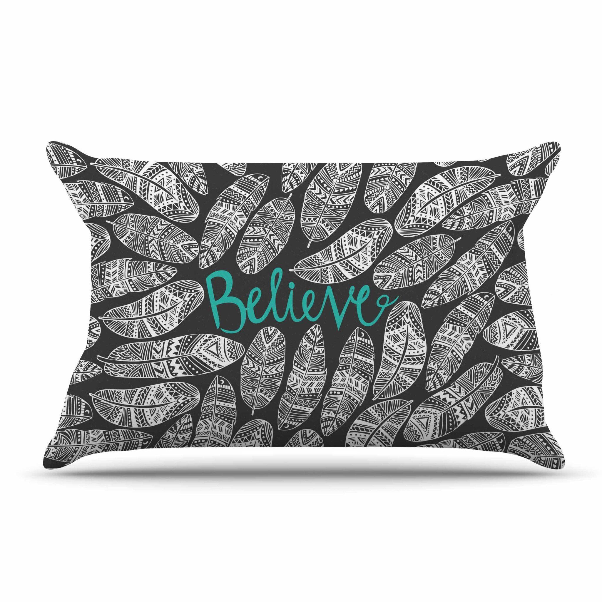 "Pom Graphic Design ""Believe In Yourself"" Dark Gray Pillow Case"