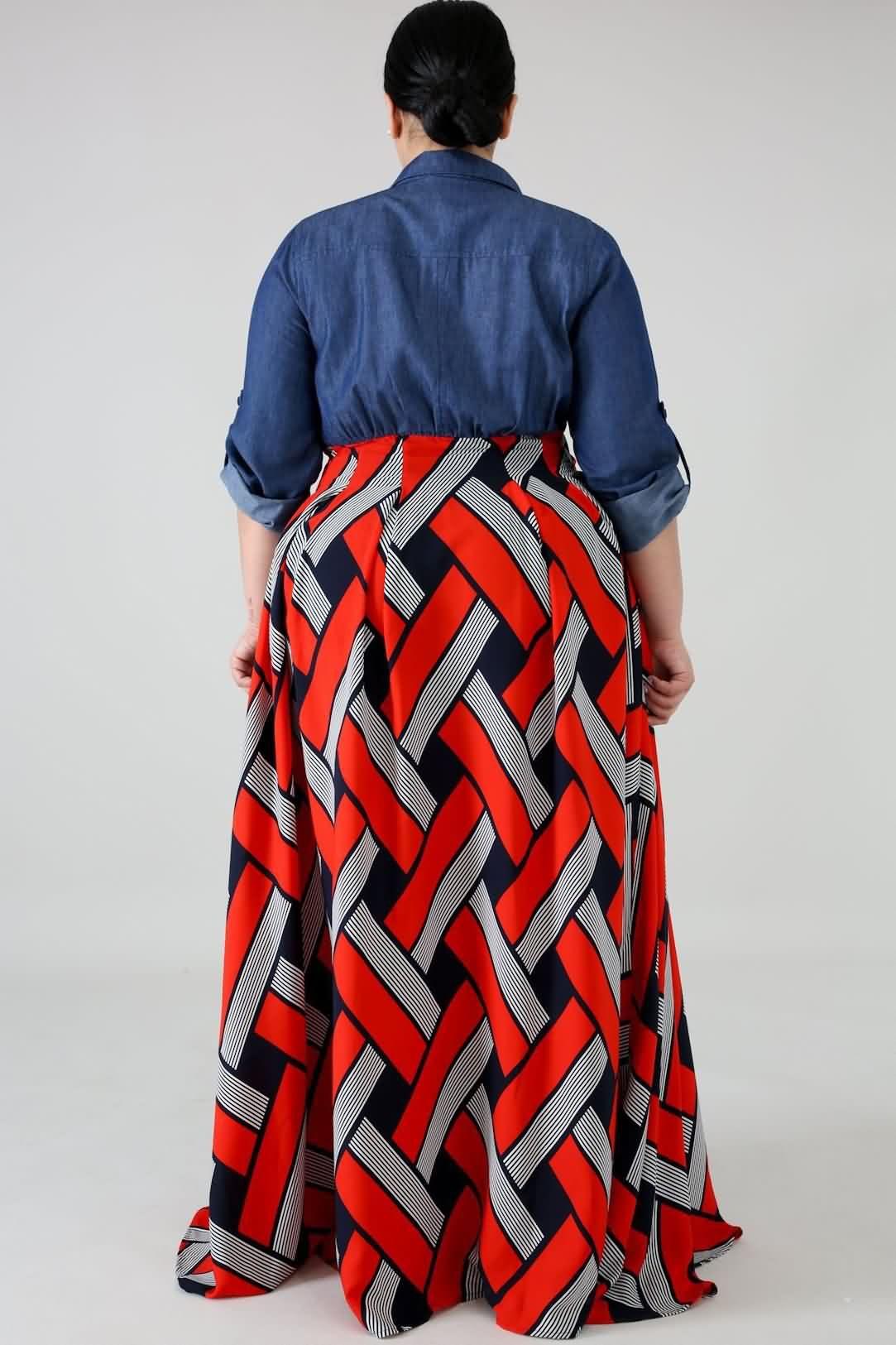 3da2eb84dda Women Red Tribal Print Button Up Casual Plus Size Maxi Shirt Dress - 3XL