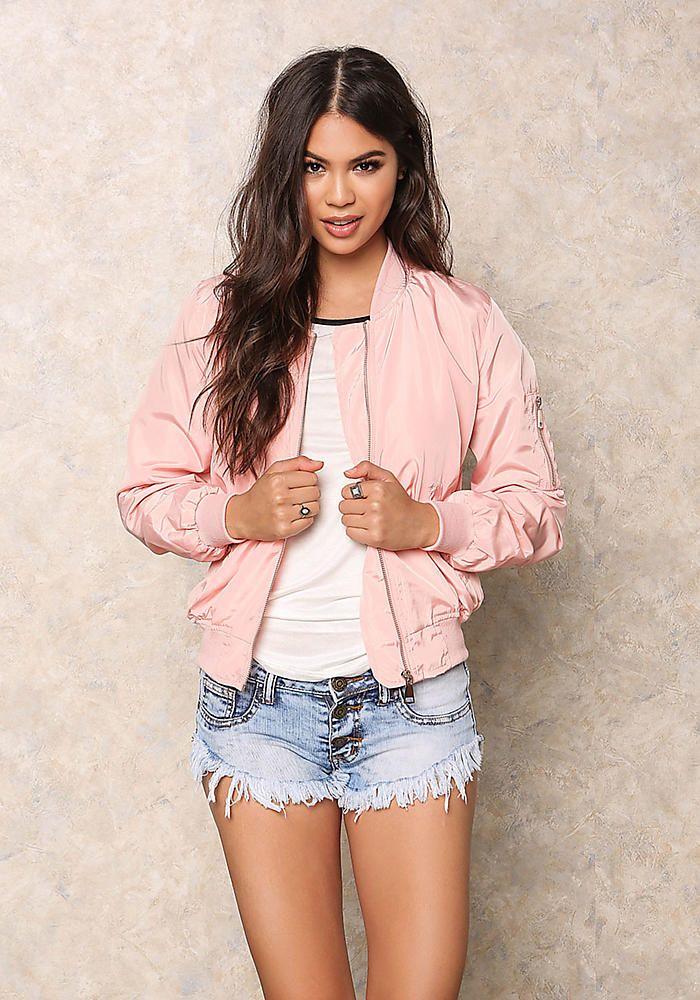 Pink Windbreaker Bomber Jacket
