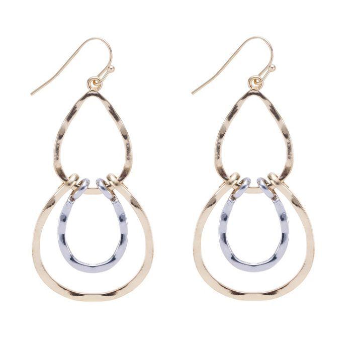 Mood Gold and silver open link drop earring   Debenhams