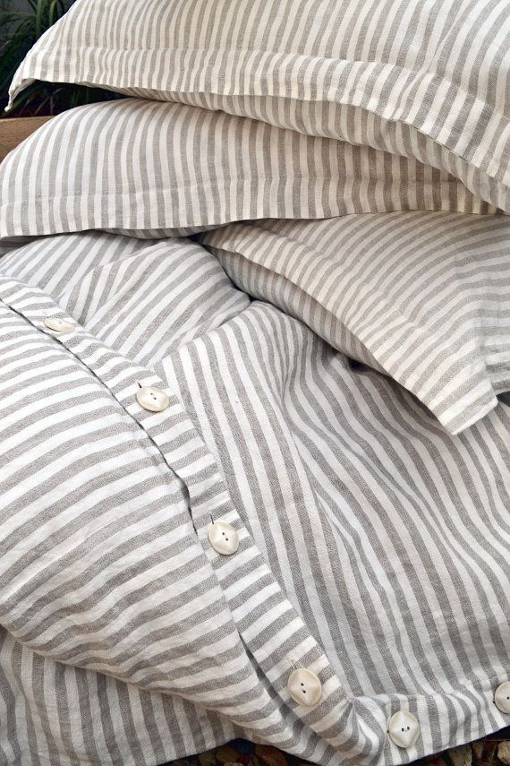Pinstriped linen duvet cover. Gray and White stripes. Stonewashed