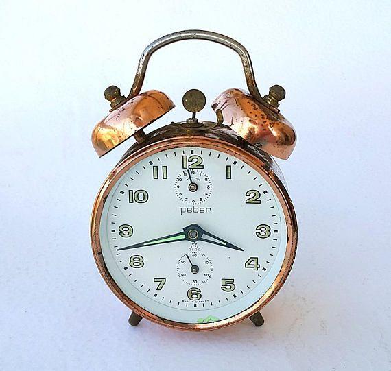 Vintage Copper Alarm Clock German twin bell clock Working ...