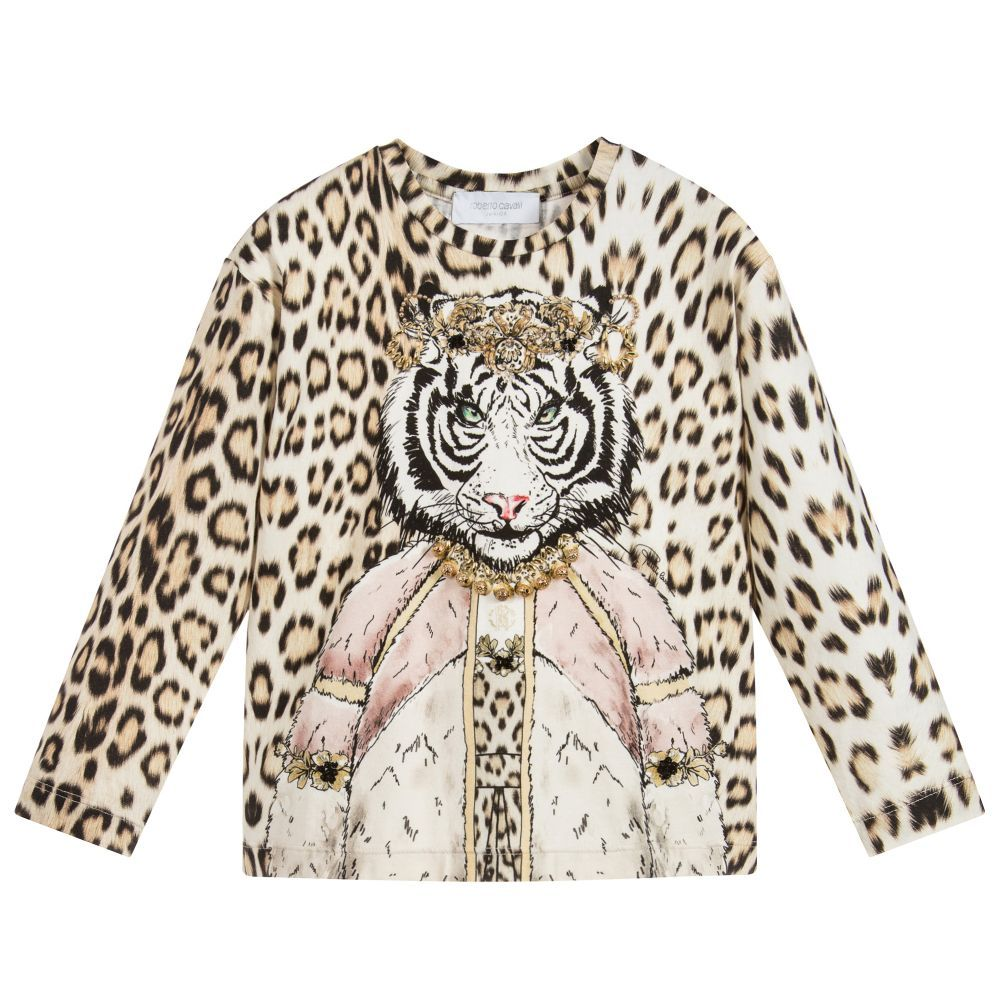 45b01bbcca Girls Cotton Leopard Print Top for Girl by Roberto Cavalli. Discover more  beautiful designer Tops for kids online