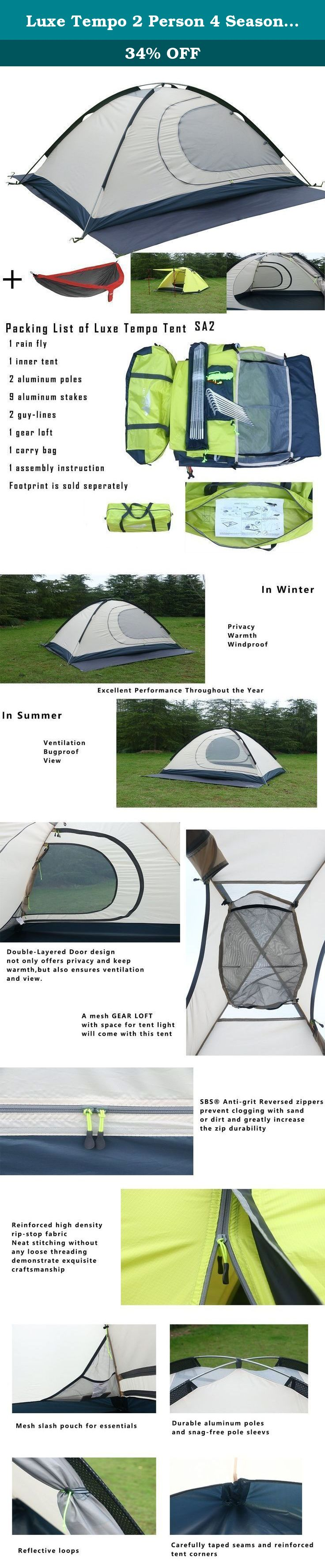 Luxe Tempo 2 Person 4 Season Tents for C&ing with Free Hammock Backpacking Aluminum Poles All  sc 1 st  Pinterest & Luxe Tempo 2 Person 4 Season Tents for Camping with Free Hammock ...