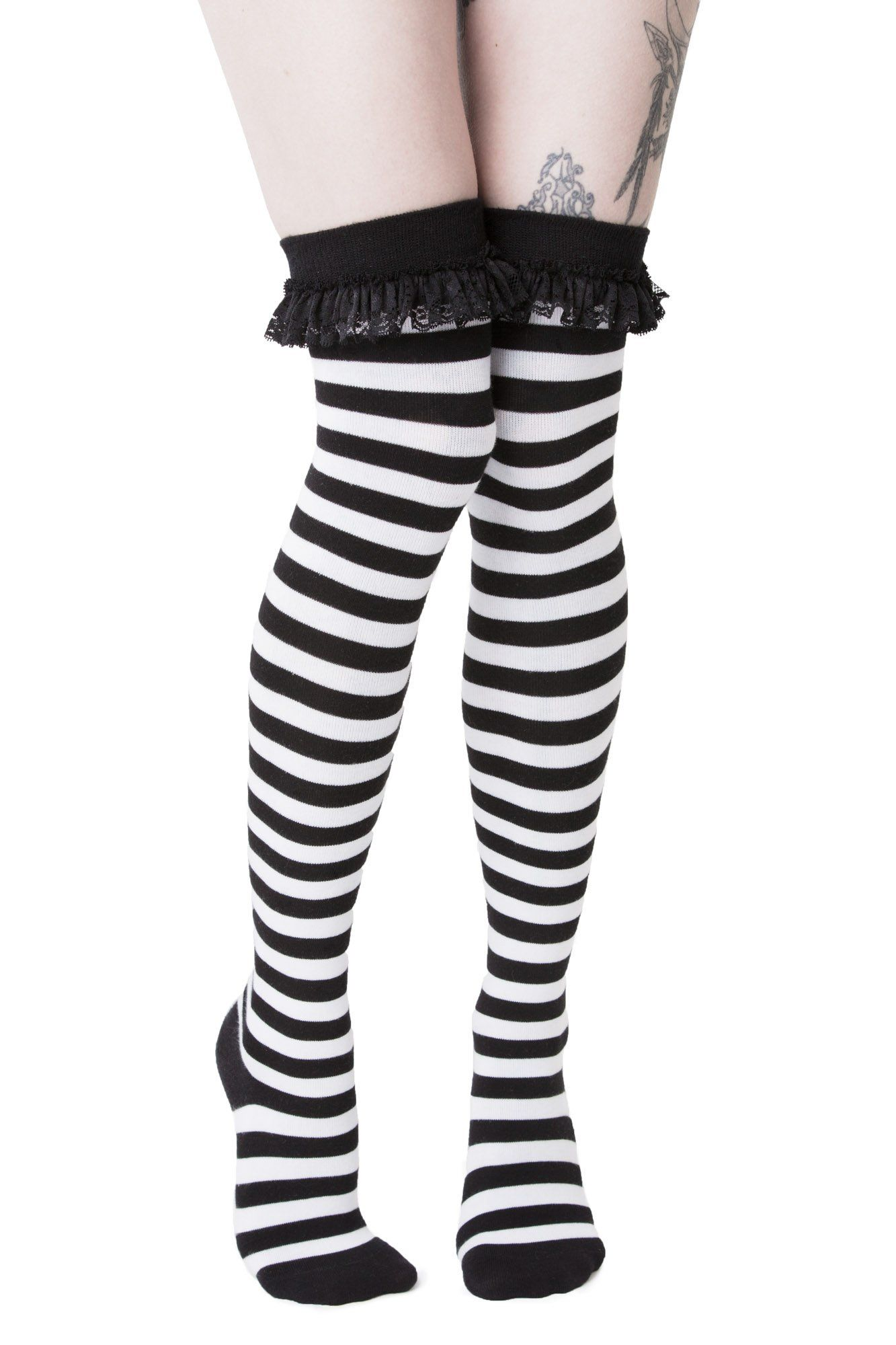 New Halloween Purple//Black Stripe Skull Over The Knee Socks