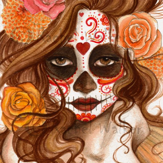 8x10 matted to 11x14 Beautiful Death Day of the Dead girl with ...