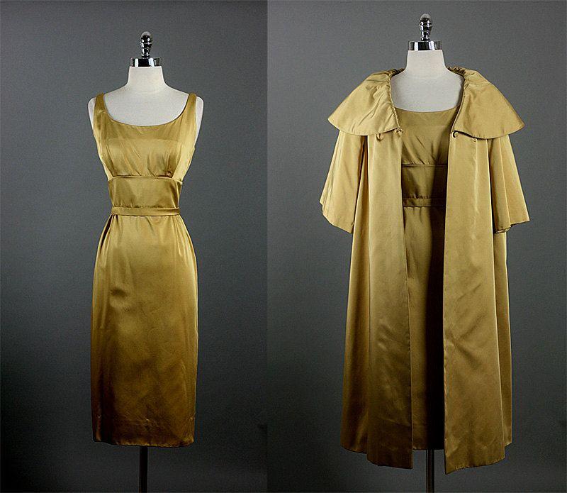 Vintage 1950s 50s Elegant SANDRA SAGE Couture  Cocktail Party Wedding Dress Coat Set S. $225.00, via Etsy.