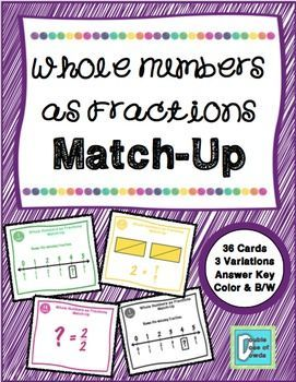 Whole Numbers as Fractions Matching Game | A Double Dose of Dowda ...