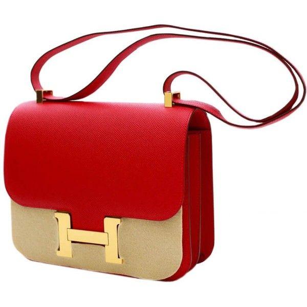 95c0782f8c5 Hermès Constance 24 Bag Rouge Casaque Epsom found on Polyvore featuring  polyvore