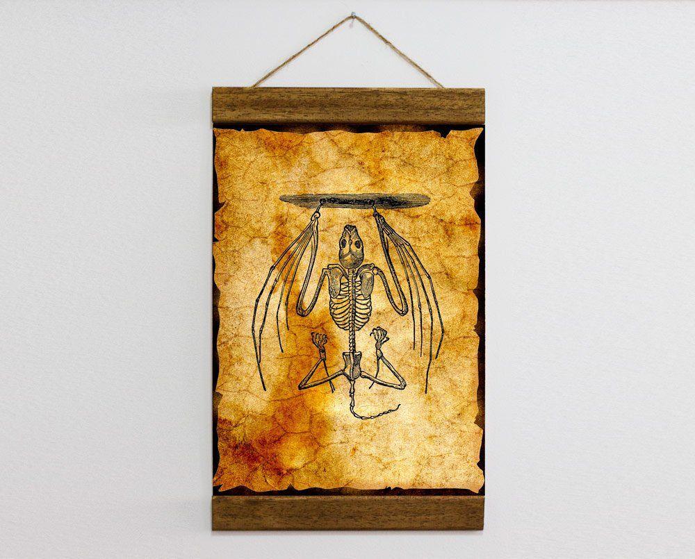 Hanging Bat Skeleton Art Wood Framed