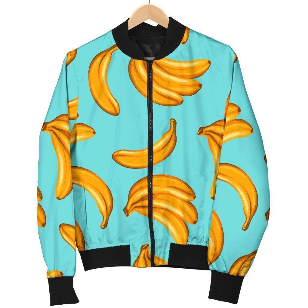 Blue Banana Pattern Print Men's Bomber Jacket