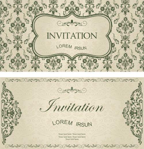 Dark Green Floral Vintage Invitation Cards Vector 10 Raton De Biblioteca Ratones Biblioteca