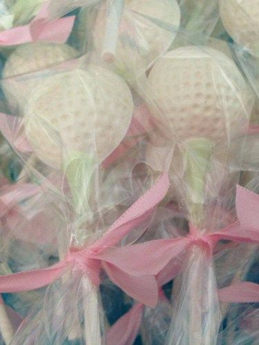 12 Chocolate Golf Balls Lollipops Wedding, Birthday ,Favors ,Father's Day
