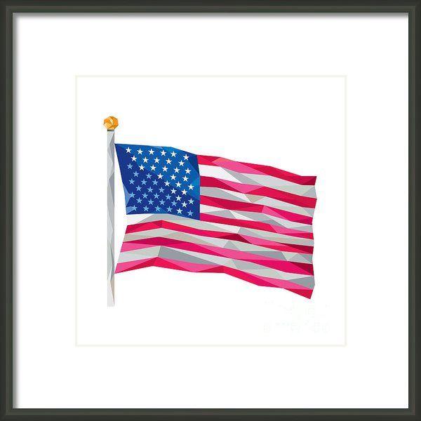 Usa Flag Stars And Stripes Low Polygon Framed Print by Aloysius ...