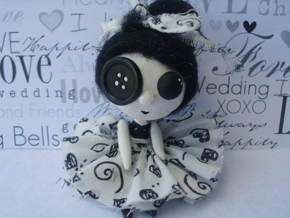 Black Goth Jointed Art Doll Ooak Polymer Clay by MyWillies on Etsy, $40.00