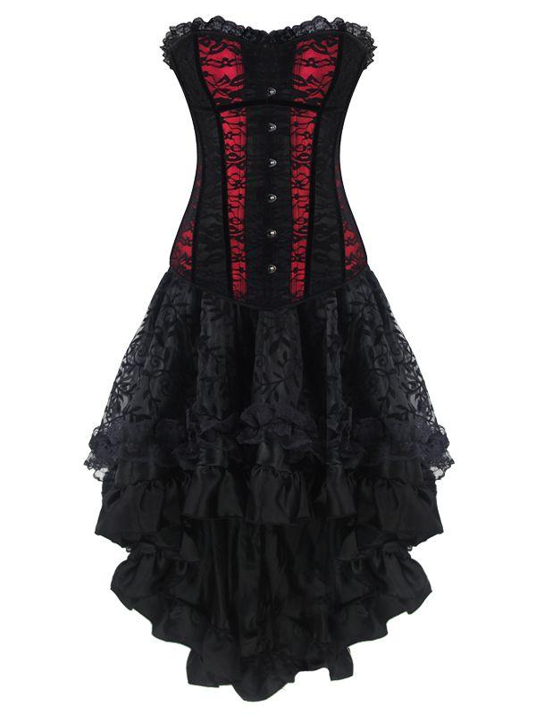 corset noire et rouge avec dentelle et jupe gothique robe tenue pinterest meilleures. Black Bedroom Furniture Sets. Home Design Ideas