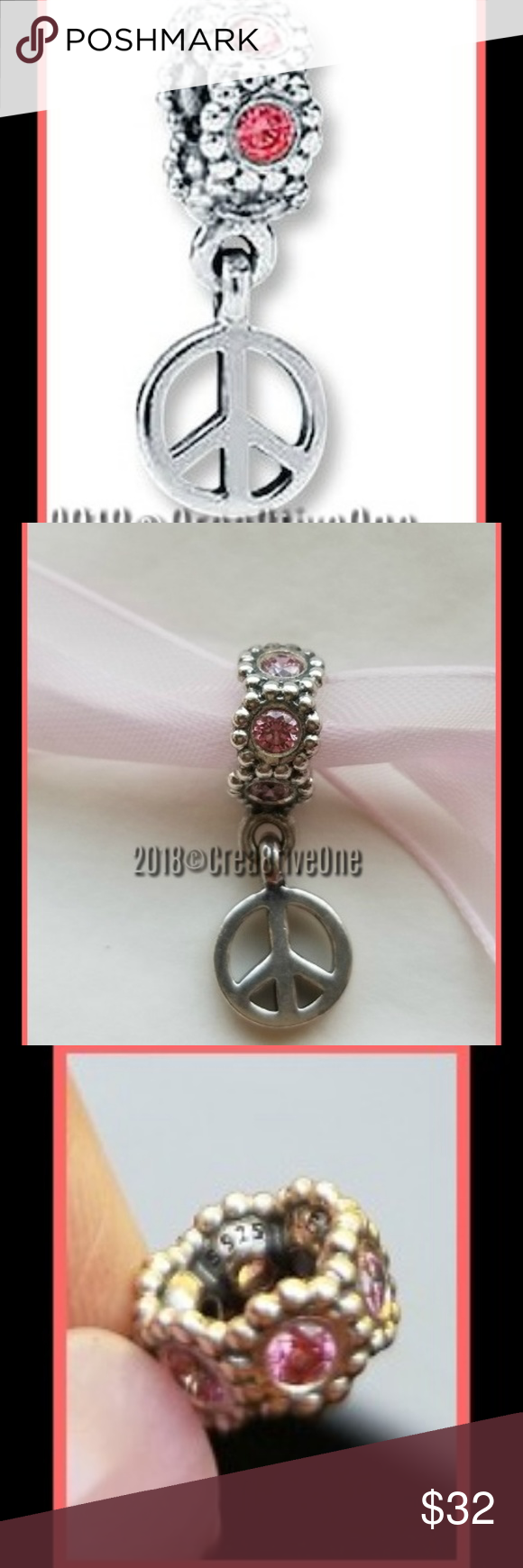 645073f09 Sterling Silver · Atlantic Salmon · AUTHENTIC PANDORA Peace Dangle Charm  #790516CZS GENTLY USED - Dangle PEACE Charm - Crafted in