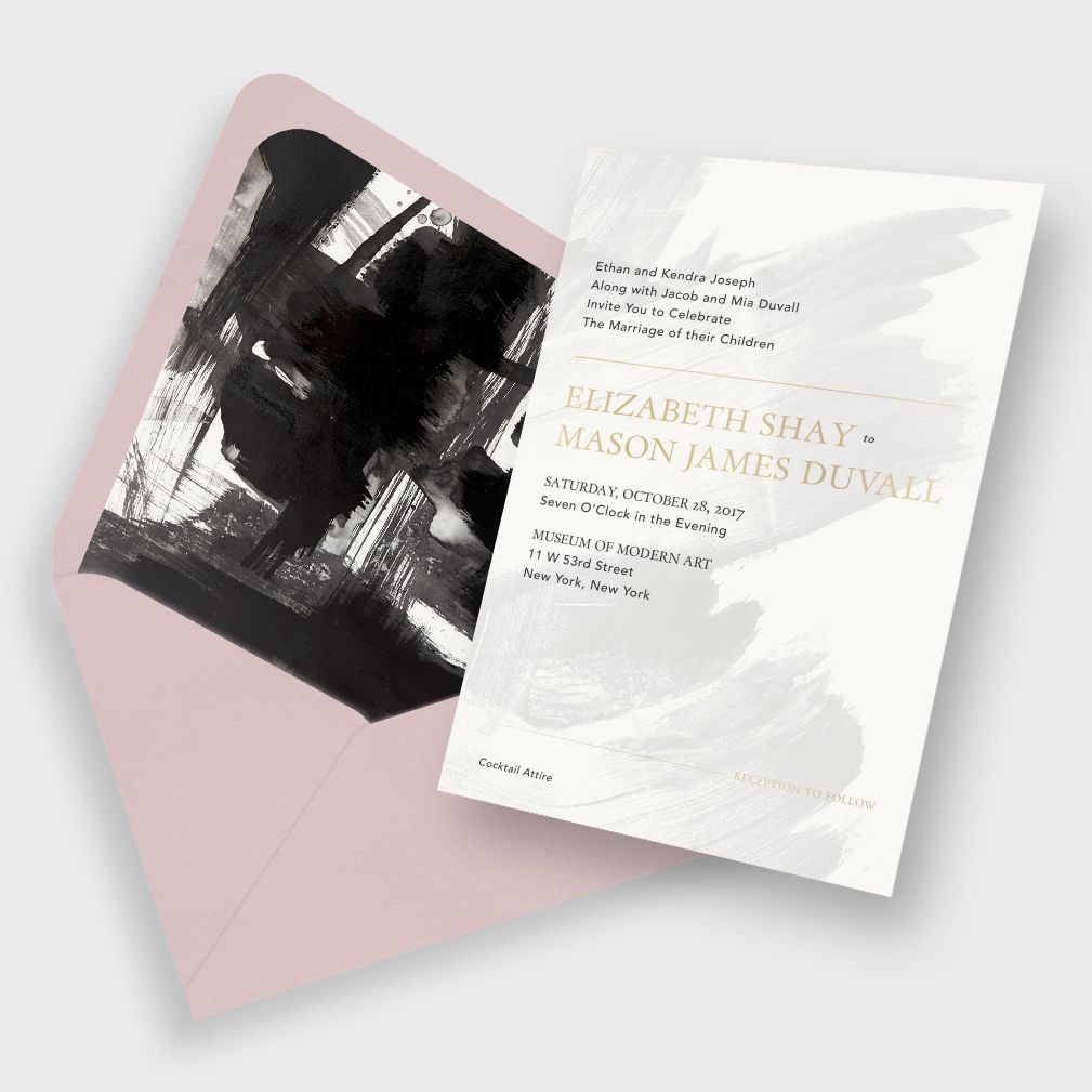 Modern Artistic Brushstroke Wedding Invitation / Grey, Black and ...