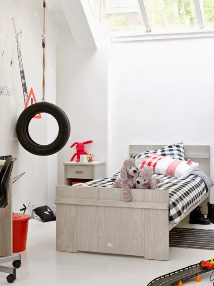 boy room with simple colors - gray, black&white and red accents