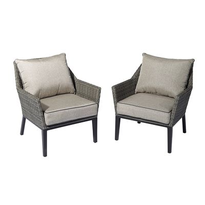 Awe Inspiring Shop Allen Roth Maxfield Cushioned Patio Chair Set Of 2 Creativecarmelina Interior Chair Design Creativecarmelinacom