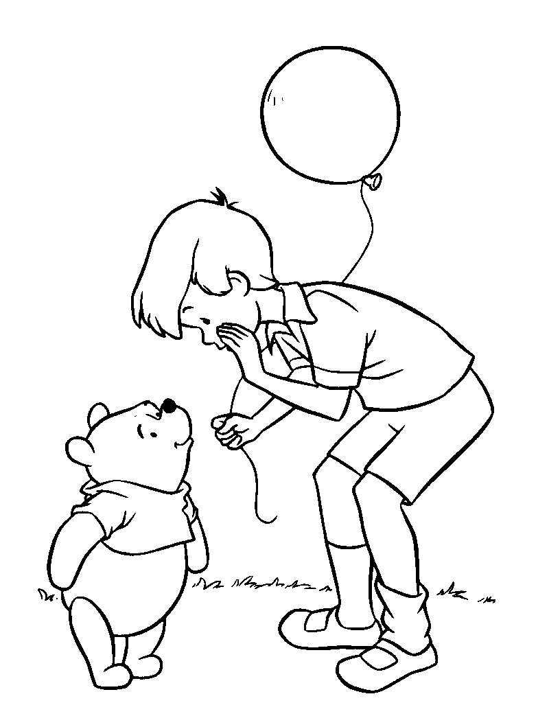 Christopher Robin Giving Balloons | Winnie the Pooh Coloring Pages ...