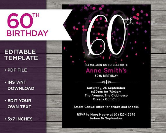 Pink invitation 60th birthday invite 60 years old customisable pink invitation 60th birthday invite 60 years old customisable invitation pink invite stopboris Choice Image