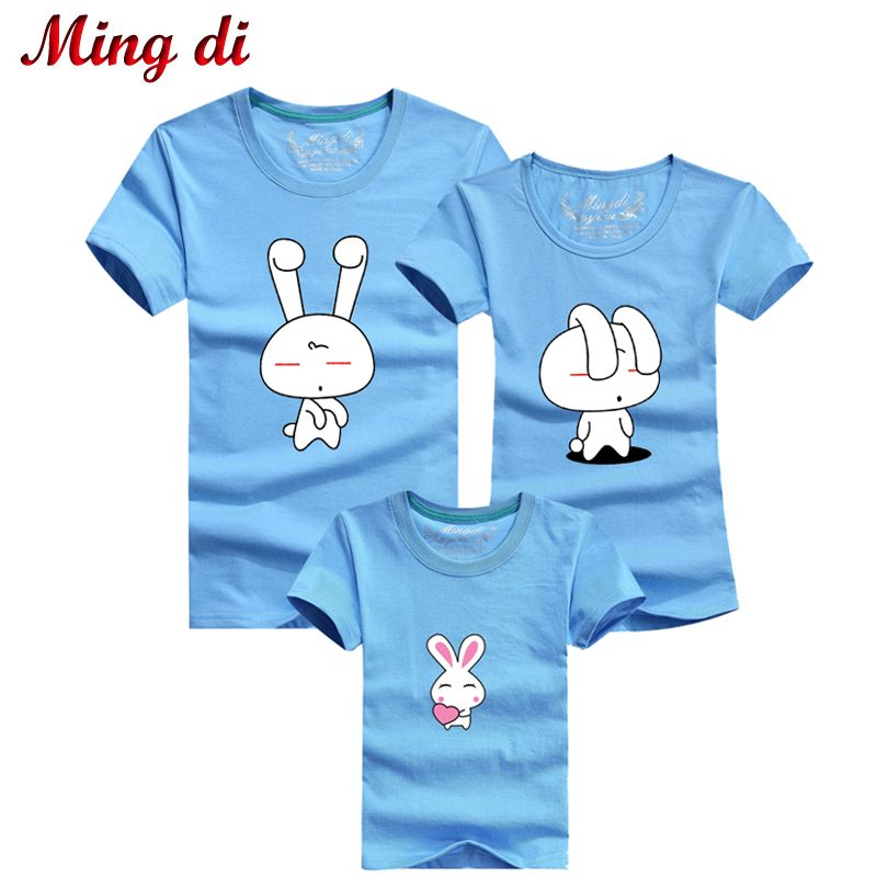 Ming Di 2017 Mother and Daughter Clothes Family Matching Clothing Family Look Rabbit Children Clothing Men's Plus Size T-shirts #Affiliate