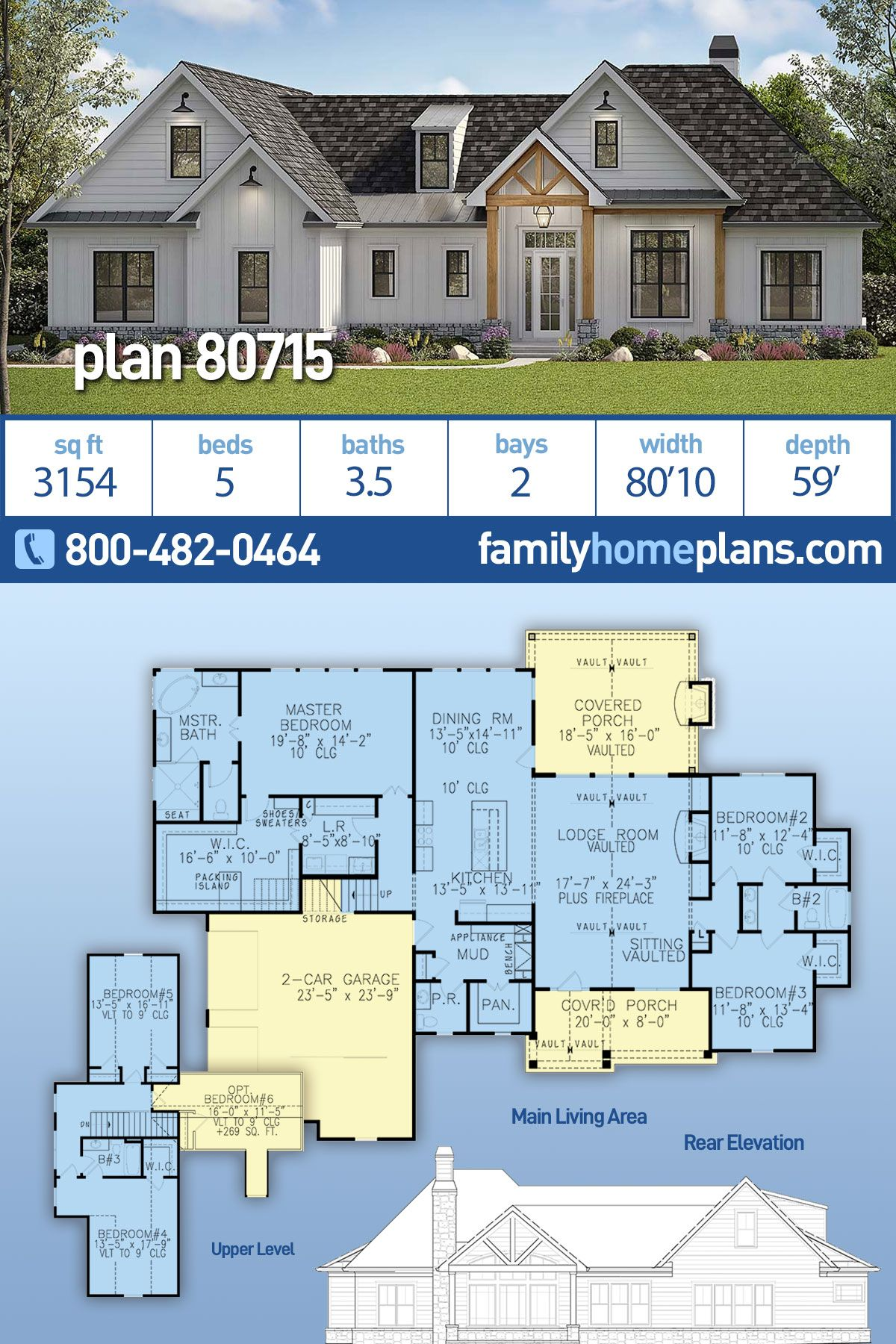 Southern Style House Plan 80715 With 5 Bed 4 Bath 2 Car Garage Multigenerational House Plans House Plans House Plans Farmhouse