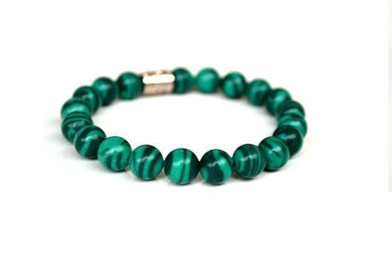 Pretty :)  Classic Genuine Green Malachite Gemstone Bracelet. Beaded Jewelry. Stone Jewelry on Etsy, $19.00