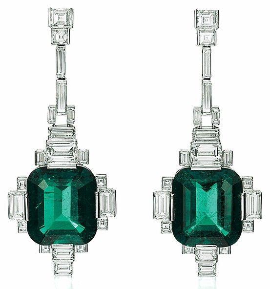 Emerald and diamond ear pendants by René Boivin from Siegelson.