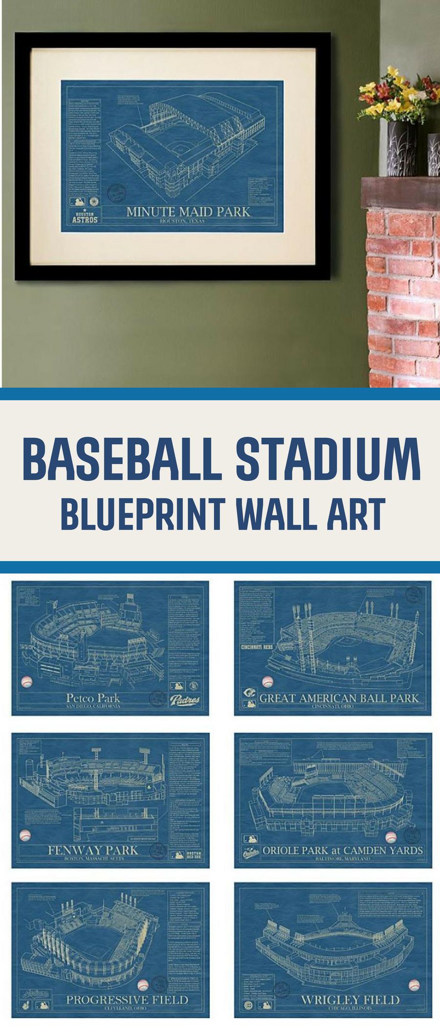 Baseball Stadium Wall Art Prints Architectural Blueprints Of