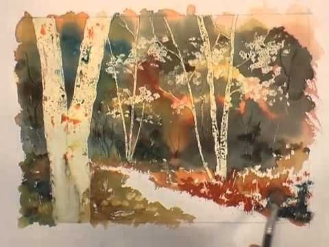 Watercolour Trees Lesson Silver Gold Part 1 Youtube