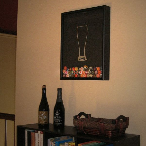 This item is a fan-favorite design: a simple weizen glass silhouette graphic featured on a 16 by 20 inch shadow box frame customized to hold beer bottle caps.