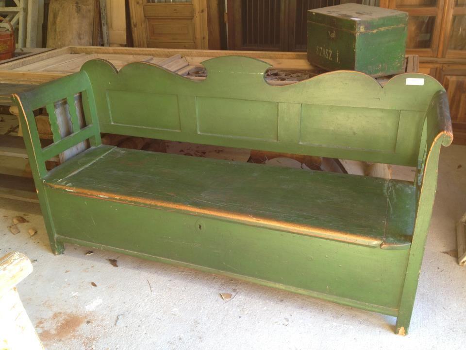 Antique Green Storage Bench