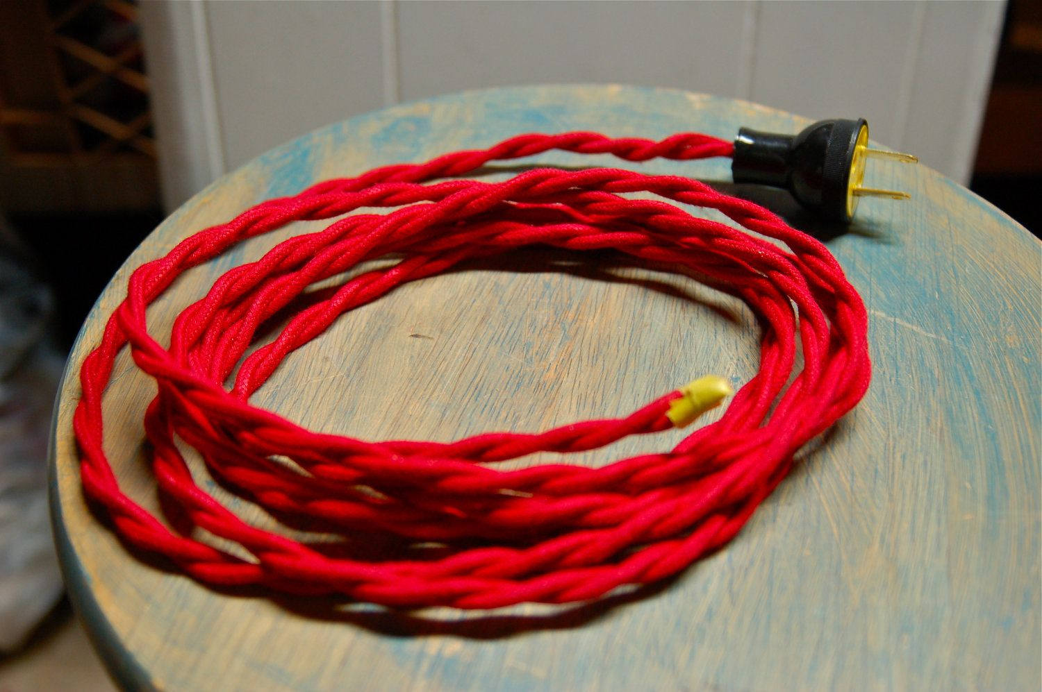 Red Twisted Cloth Covered Wire Plug 8 Vintage Kit Fabric Wiring Lamp Electrical Cord Light Socket 1799 Via Etsy