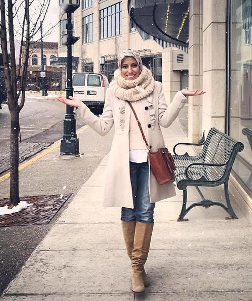 On Trend And Elegant Looks For: White Trench Coat Hijab Style