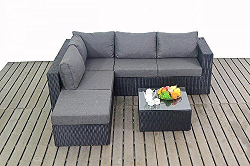 Centurion Royal Prestige Rattan Garden Furniture Small Corner Sofa Set - Black