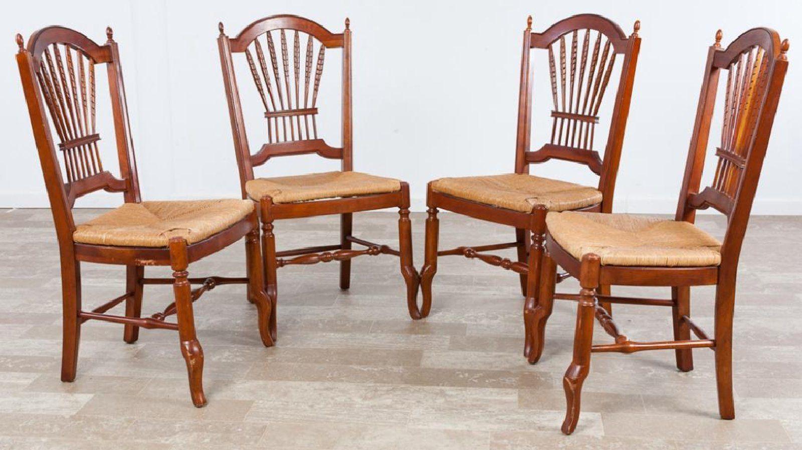Ethan Allen Rush Bottom Chairs Set, Four (4)