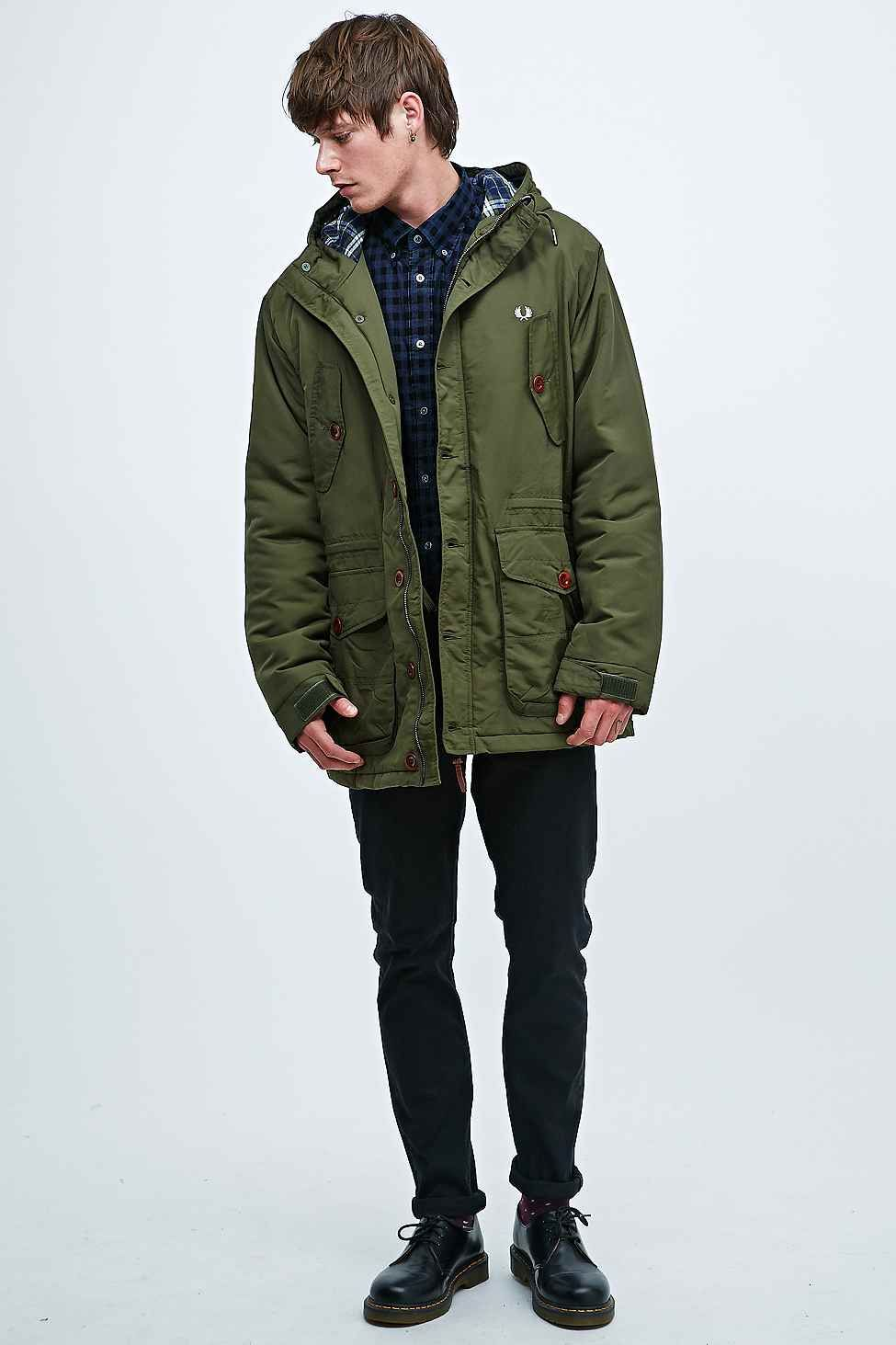 f406f92fc73a5 Fred Perry Wadded Mountain Parka in Green   Clobber   Parka style ...